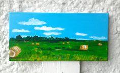 Landscape painting Hay bales Original art Home decor A