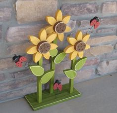 TRIPLE SUNFLOWER on stand with LADYBUGS for home decor by lisabees