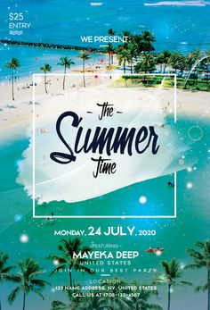Download the Summer Time PSD Flyer Template for free. This summer flyer is editable and suitable for any type of tropical party, sunset event, dj, pool party and other. Free Psd Flyer Templates, Flyer Free, Flyer Design, Booklet Design, Corporate Design, Design Design, Hotel Logo, Hotel Ads, Brochure Design Layouts