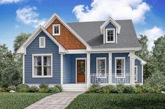 This wonderful 3 bedroom, 2 ½ bath house plan is loaded with features and style. It offers a luxurious master suite, oversized closet, mudroom and much more! Cottage Exterior Colors, Exterior Color Schemes, Craftsman Cottage, Building A Shed, Building Plans, Cozy Cottage, House Painting, House Colors, Future House