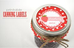 Custom kitschy canning labels. Silhouette supplies used: Strawberry & Retro Badges and Labels shapes.