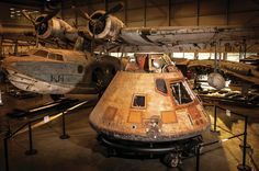 The Apollo 11 command module Columbia sits in the Mary Baker Engen Restoration Hangar in Virginia, where it is undergoing conservation.  Dane Penland/National Air and Space Museum/Smithsonian Institution