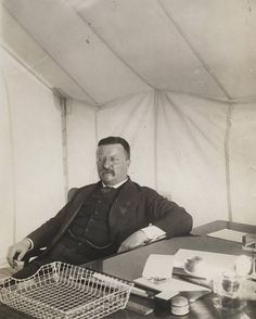 "This incredibly sharp photo of President Theodore Roosevelt in his tent was taken at a Rough Riders reunion in San Antonio, 1906. Everybody say, ""Bully!"""