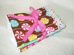 Baby Girl Burp Cloths - Set of Two - PInk - Candy Gumdrops - Lolli Pops - Chenille - on Etsy, $11.00