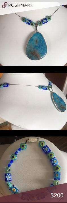 Beaded glass suite Fancy blue and light green glass handmade beaded necklace. With blue agate dangle. Jewelry Necklaces