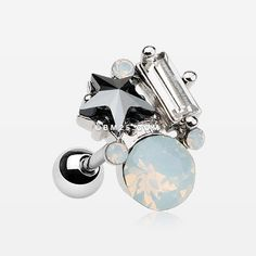Lyra Opalite Sparkle Cluster Cartilage Tragus Barbell