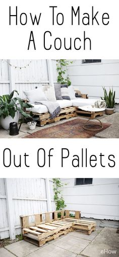 DIY a couch out of pallets. This is a beautiful and easy to make piece you can add to your backyard, patio, or any room you want! Saves you so much money! This is just one of our favorite projects right now: http://www.ehow.com/how_10062285_make-couch-out-pallets.html?utm_source=pinterest.com&utm_medium=referral&utm_content=freestyle&utm_campaign=fanpage Visit our site now!
