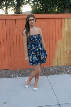 blue and yellow floral romper and white flats outfit