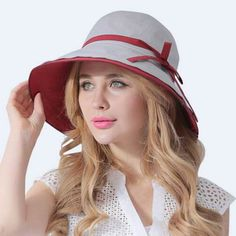 cd0bfe645d4 Summer wide brim sun hat for women with bow cotton bucket hats package