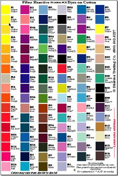 Rit dye color chart lists the different rit colors and shows what