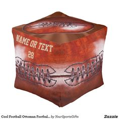 Cool Personalized Football Furniture for extra Football Seating or Football Ottoman, Football Chair PERSONALIZED with YOUR TEXT or Delete: CLICK: http://www.zazzle.com/cool_football_ottoman_football_chair_personalized-256158933630940103?CMPN=shareicon&lang=en&social=true&view=113877207769351976&rf=238012603407381242 Faux Vintage Football man cave decor ideas for men, boys and football gifts for teenagers. More Football Bedroom ideas for kids to adults HERE…