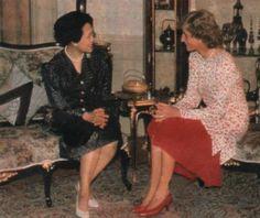 February 4, 1988: Diana talks with Queen Sirikit at the Chitralada Royal Villa…
