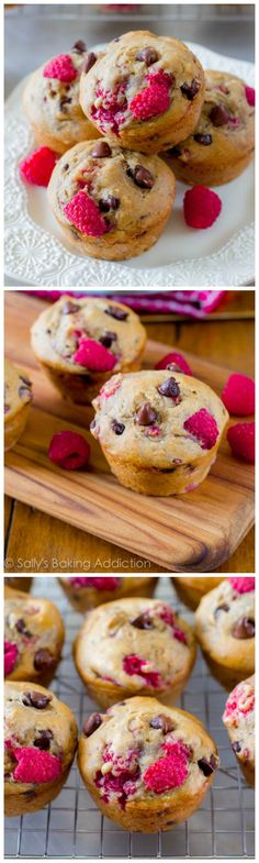 Skinny Raspberry Chocolate Chip Banana Muffins. These low fat, low sugar, whole wheat muffins are so flavorful! @Sally [Sally's Baking Addiction]