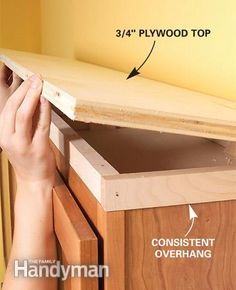Kitchen Makeover How to Add Shelves Above Kitchen Cabinets - Make every inch count with an easy-to-clean upper-cabinet shelf Decorating Above Kitchen Cabinets, New Kitchen Cabinets, Kitchen Redo, Kitchen Ideas, Kitchen Shelves, Kitchen Soffit, Above Cabinet Decor, Cabinet Top Decorating, Rustic Cabinets