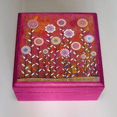 Wooden Handmade Small Flower Jewelry Box Wood Trinket Box...
