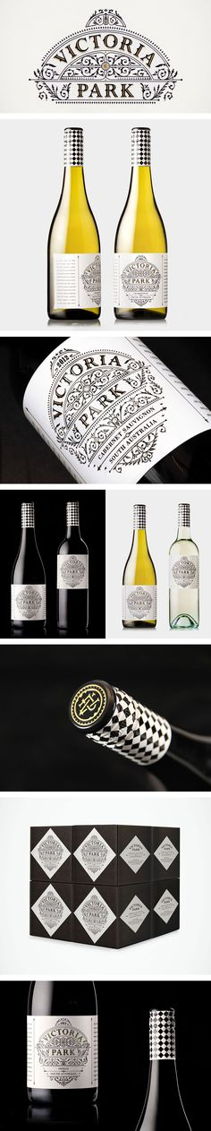 Victoria Park wine label and packaging Beverage Packaging, Bottle Packaging, Wine Label Design, Bottle Design, Packaging Design, Brand Packaging, Branding Design, Wine Logo, Wine Brands