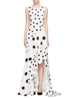 Oscar de la Renta | Tiered skirt polka dot silk crepe gown