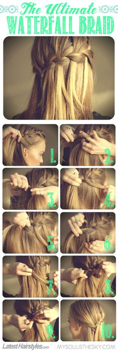 The Ultimate Waterfall Braid Tutorial  Hair idea? I would curl it first to add texture and help hold the braid. More natural look then some of the crazy updo's most brides want.