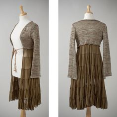 Try my brown sweater & brown pailsy wrap sckirt re-deux Women's repurposed shrug and skirt jacket olive by redeuxclothing Diy Clothing, Sewing Clothes, Recycled Clothing, Recycled Fashion, New Outfits, Cool Outfits, Sweater Refashion, Mein Style, Diy Couture
