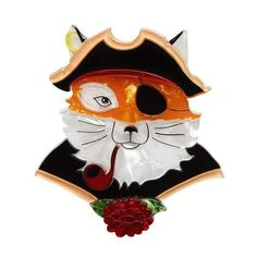 "Erstiwlder Collectible The Cunning Captain Fox Brooch. ""Not quite an old salty sea-dog, more like a fresh young Vulpes Vulpes; and he'll take the seas in style."""