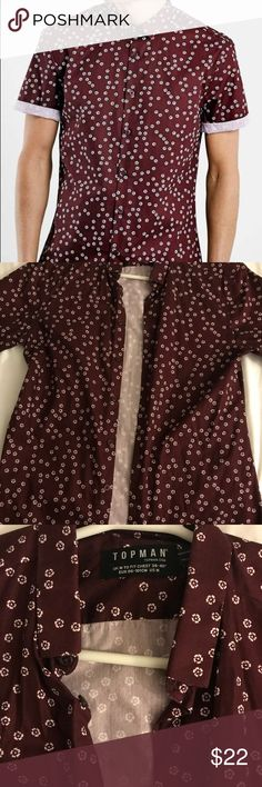 Topman burgundy floral button up shirt Burgundy & white floral button up shirt from Topman, purchased at Nordstrom. Size medium, slim fit. Topman Shirts Casual Button Down Shirts