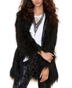 Imitated Fur Medium Style Overcoat
