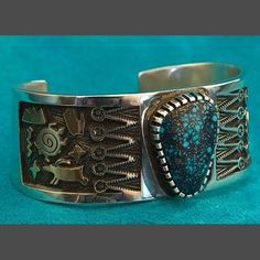 Ithaca Peak Turquoise, Silver and Gold Bracelet jewelry Arland Ben