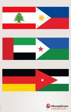 "MoneyGram 의 세계 국기를 이용한 재미있는 광고    전세계 194개국에 송금이 가능한 ""MoneyGram"" 서비스를 홍보하기 위해서 각국의 국기로 화살표를 만든 모습,    참~ 깔끔한 크리에이티브죠^^"