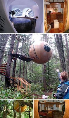 FREE SPIRIT SPHERES   British Columbia  Get this: You can actually RENT these FREE SPIRIT SPHERES  About $44,700 to buy and install; $134 for one-night rental  Looking like something out of an Ewok village in Return of the Jedi??  These thingies were built to be sanctums for meditation.  most hang from at least three trees, and may include power, sound, and telephone wiring, as well as a sink. they also rents out his spheres on a per-night basis.
