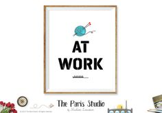 Knitter At Work sign printable business signage instant download - Crochet