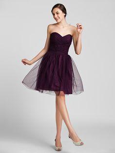 Sheath/Column Sweetheart Knee-length Tulle Bridesmaid Dress | LightInTheBox