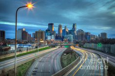Downtown Minneapolis Skyline From 35w  Prints available from $17  #FineArt #Architecture #Landscape #Photography #InteriorDesign #CityScape #Office #Home  #Inspiration #Nature