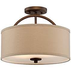 "Halsted Brushed Bronze Semi-Flush 15"" Wide Ceiling Light"
