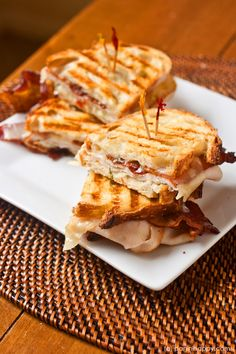 Turkey, Bacon and Swiss Panini with Green Goddess Mayo!! Mmm looks amazing!