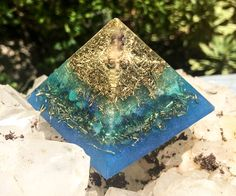 Orgonite Third Eye Crystal Pyramid by VioletFlameOrgoneLA on Etsy