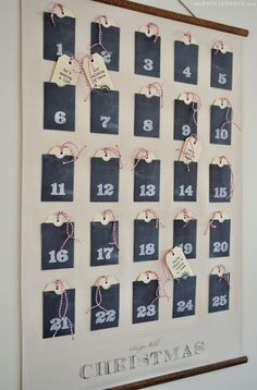 Christmas Advent Calendar Wall Chart {free printables}