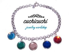 Silver necklace with colored glass charms- Available in different colors - Autumn necklace - 925 Silver - Designed and made in Spain. by CuchiCuchiSHOP on Etsy