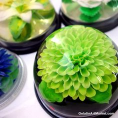 Gelatin Art Green Flower