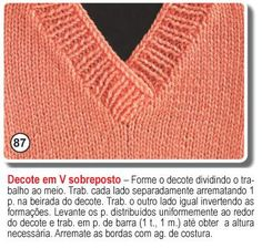 Blog By Day: Post Help :: Dúvidas Sobre Gola V e Costura Blog By Day, Lana, Crochet, Red Waistcoat, Knit Vest, Crochet Blouse, Cross Stitch For Baby, Cute Blouses, Tricot