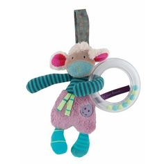 Sheep ring rattle: Miniature sheep soft toy rattle, in the fabric and colours of the range with a ring filled with multicolored plastic balls. Personalized Gifts For Kids, French Fabric, Le Jolie, Baby Rattle, Different Textures, Baby Games, Toddler Gifts, Newborn Gifts, Toy Boxes