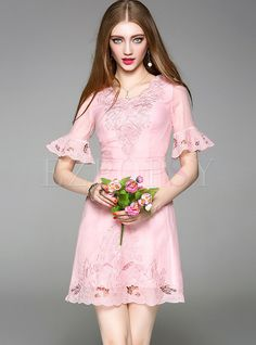 Shop for high quality Sexy Embroidered Hollow Out Flare Sleeve Skater Dress online at cheap prices and discover fashion at Ezpopsy.com