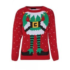 Mens Noroze Novelty Elf Dancer Red and Green Snowy Knitted Christmas Jumper - **Sale** by OfficialBlulook on Etsy