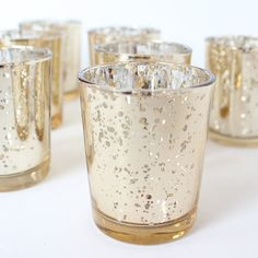 SET OF 60 Champagne Light Gold Mercury Glass by BitsOfImperfection