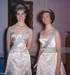 Princess Margaretha (left) and Princess Desiree of Sweden at a dinner party at Windsor, circa 1964. (Photo by Ray Bellisario/Popperfoto/Getty Images)