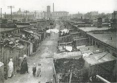McClure Flats, the late era tenements just north of the Kansas City Star building (see in the center background). Kansas City Downtown, Kansas City Missouri, Old Pictures, Old Photos, Vintage Pictures, Slums, Historical Pictures, Old West, City Streets