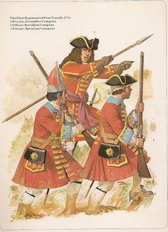 1st Regiment of Foot Guards, Grenadier, Officer and Hatman 1704