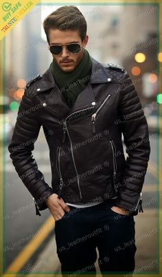 New Men& Genuine Lambskin Leather Jacket Black Motorcycle Jacket Black Leather Biker Jacket, Lambskin Leather Jacket, Leather Men, Leather Jackets, Soft Leather, Custom Leather, Quilted Leather, Real Leather, Brown Leather