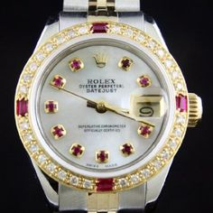 ♛ The most amazing of all Women's Rolex watch ♛  ( I think Sapphires instead of Ruby's)