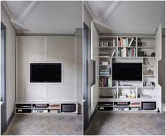 La firma británica Sigmar diseñó un mueble para TV durante la reforma de un apartamento en el oeste de Londres. Posee dos puertas que ocultan la librería.