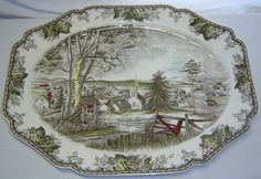 Johnson Bros Friendly Village 16 x Turkey Serving Platter England Turkey Platter, Johnson Bros, Antique Dishes, Plate Design, Serving Platters, Depression, England, China, Dreams